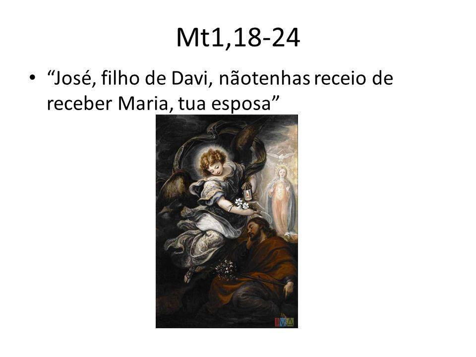 Mt1,18-24 • José, filho de Davi, nãotenhas receio de receber Maria, tua esposa