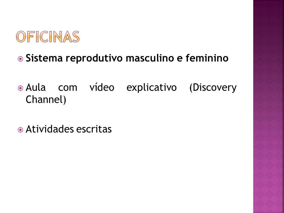 Sistema reprodutivo masculino e feminino  Aula com vídeo explicativo (Discovery Channel)  Atividades escritas