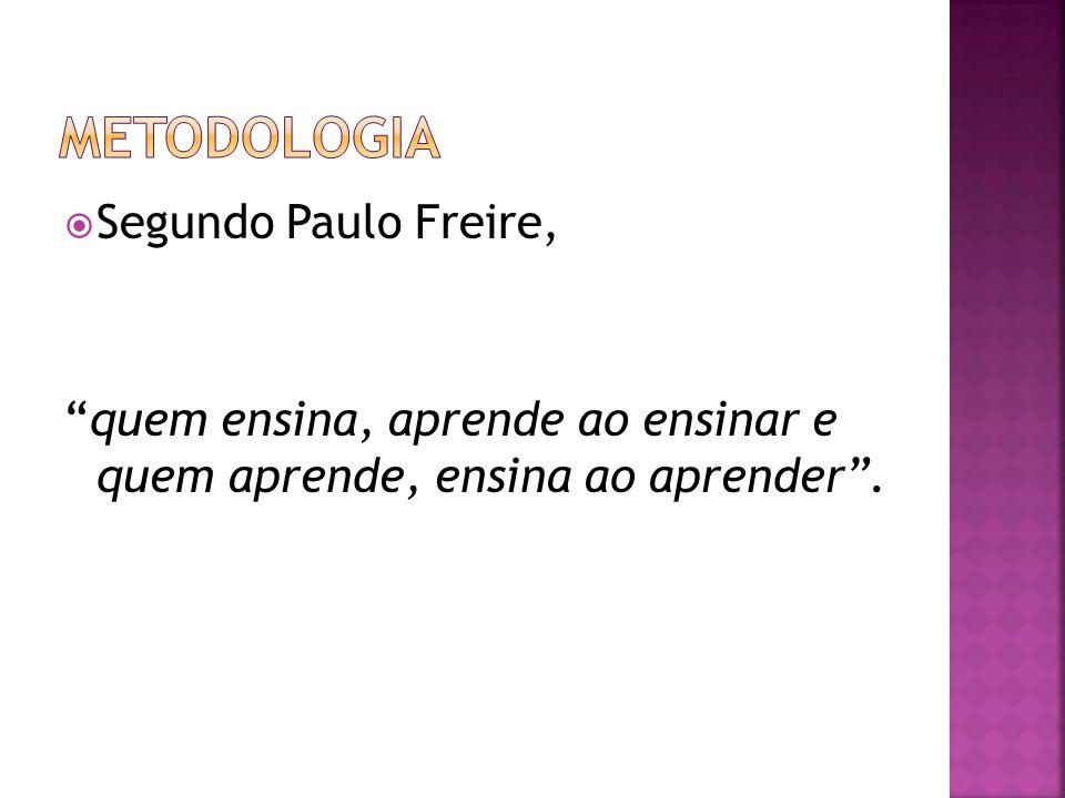  Segundo Paulo Freire, quem ensina, aprende ao ensinar e quem aprende, ensina ao aprender .