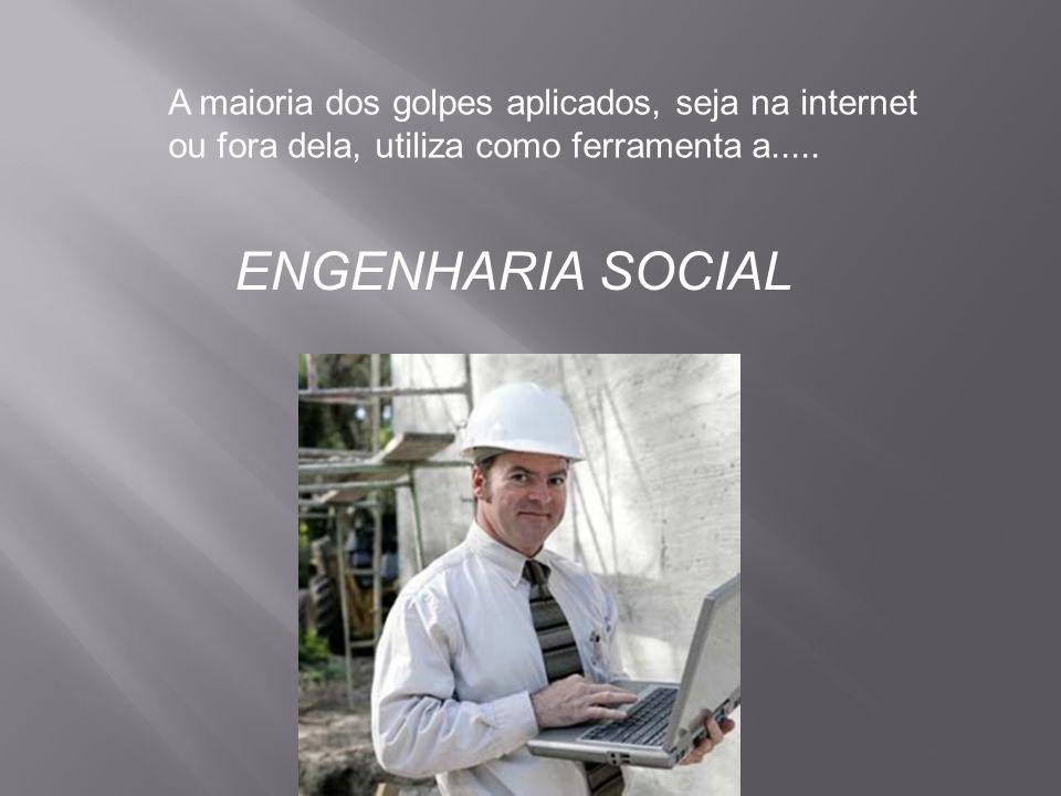 A maioria dos golpes aplicados, seja na internet ou fora dela, utiliza como ferramenta a..... ENGENHARIA SOCIAL