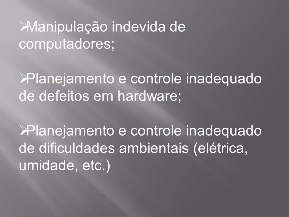  Manipulação indevida de computadores;  Planejamento e controle inadequado de defeitos em hardware;  Planejamento e controle inadequado de dificuld