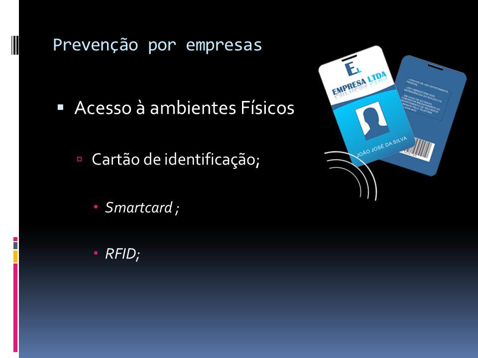 Prevenção por empresas  Acesso à ambientes Físicos  Cartão de identificação;  Smartcard ;  RFID;