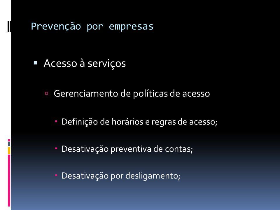 Prevenção por empresas  Acesso à serviços  Gerenciamento de políticas de acesso  Definição de horários e regras de acesso;  Desativação preventiva