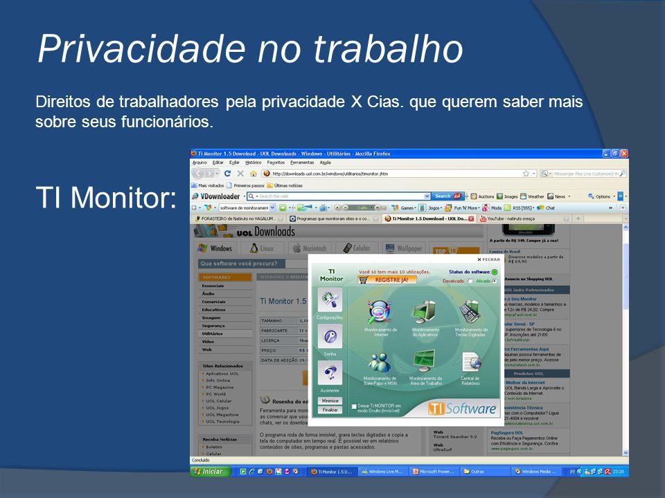 Privacidade no trabalho Direitos de trabalhadores pela privacidade X Cias. que querem saber mais sobre seus funcionários. TI Monitor: