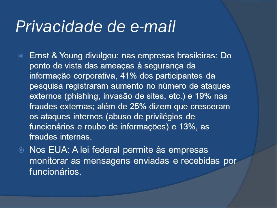 Privacidade de e-mail  Ernst & Young divulgou: nas empresas brasileiras: Do ponto de vista das ameaças à segurança da informação corporativa, 41% dos
