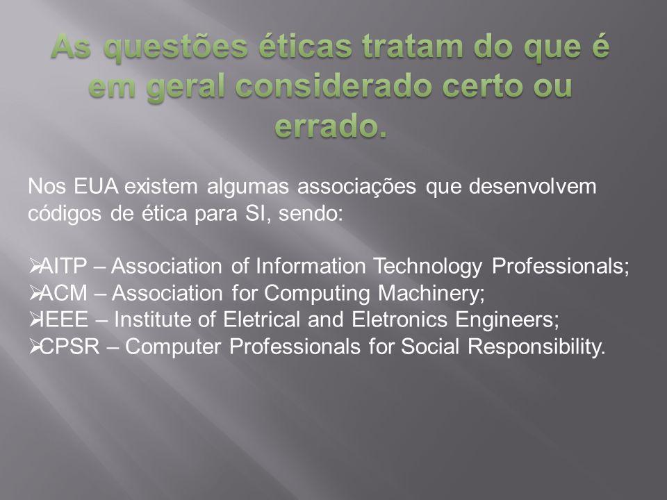 Nos EUA existem algumas associações que desenvolvem códigos de ética para SI, sendo:  AITP – Association of Information Technology Professionals;  A