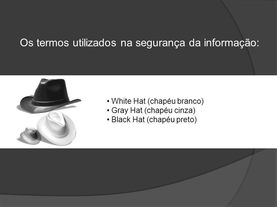 Os termos utilizados na segurança da informação: • White Hat (chapéu branco) • Gray Hat (chapéu cinza) • Black Hat (chapéu preto)