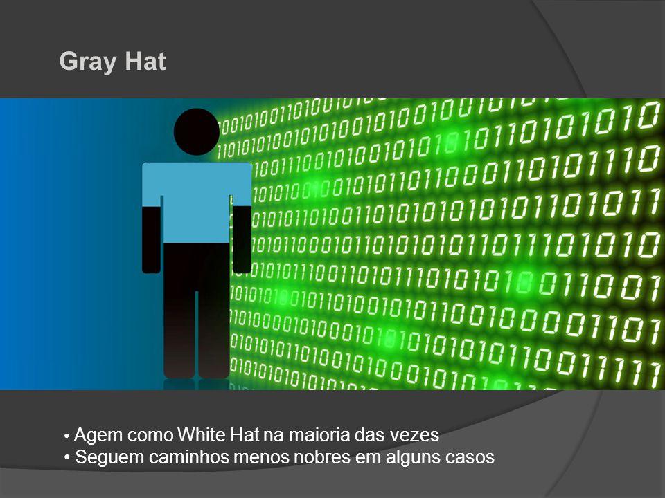 Gray Hat • Agem como White Hat na maioria das vezes • Seguem caminhos menos nobres em alguns casos