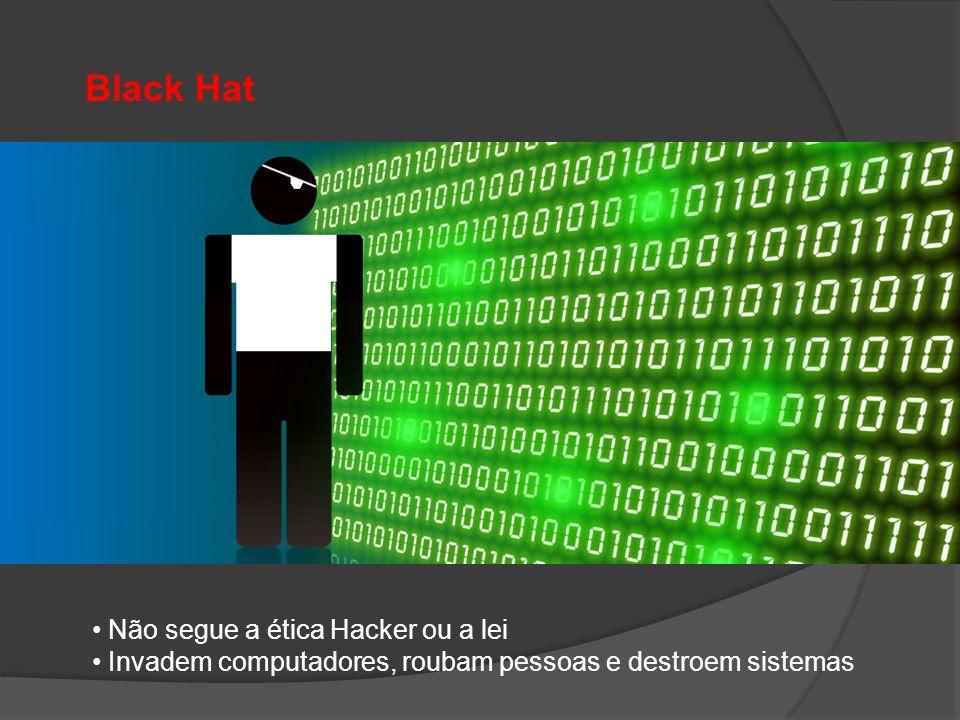 Black Hat • Não segue a ética Hacker ou a lei • Invadem computadores, roubam pessoas e destroem sistemas