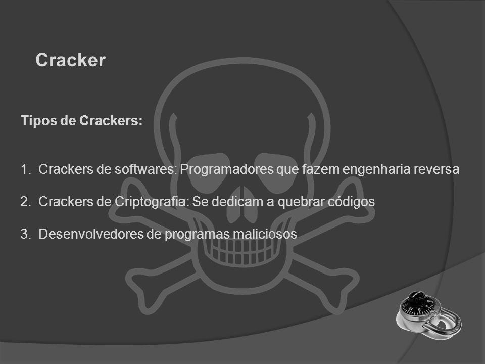 Tipos de Crackers: 1.Crackers de softwares: Programadores que fazem engenharia reversa 2.Crackers de Criptografia: Se dedicam a quebrar códigos 3.Dese