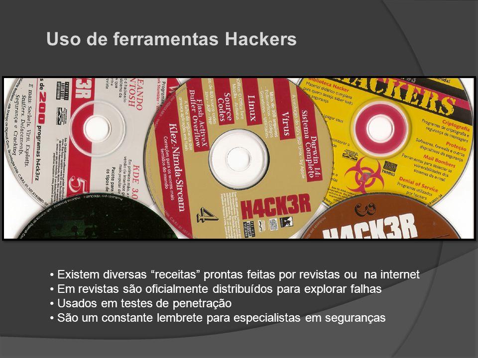 """Uso de ferramentas Hackers • Existem diversas """"receitas"""" prontas feitas por revistas ou na internet • Em revistas são oficialmente distribuídos para e"""