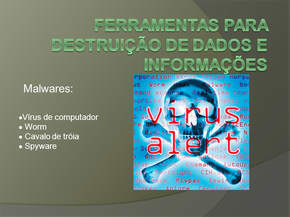 Malwares:  Vírus de computador  Worm  Cavalo de tróia  Spyware