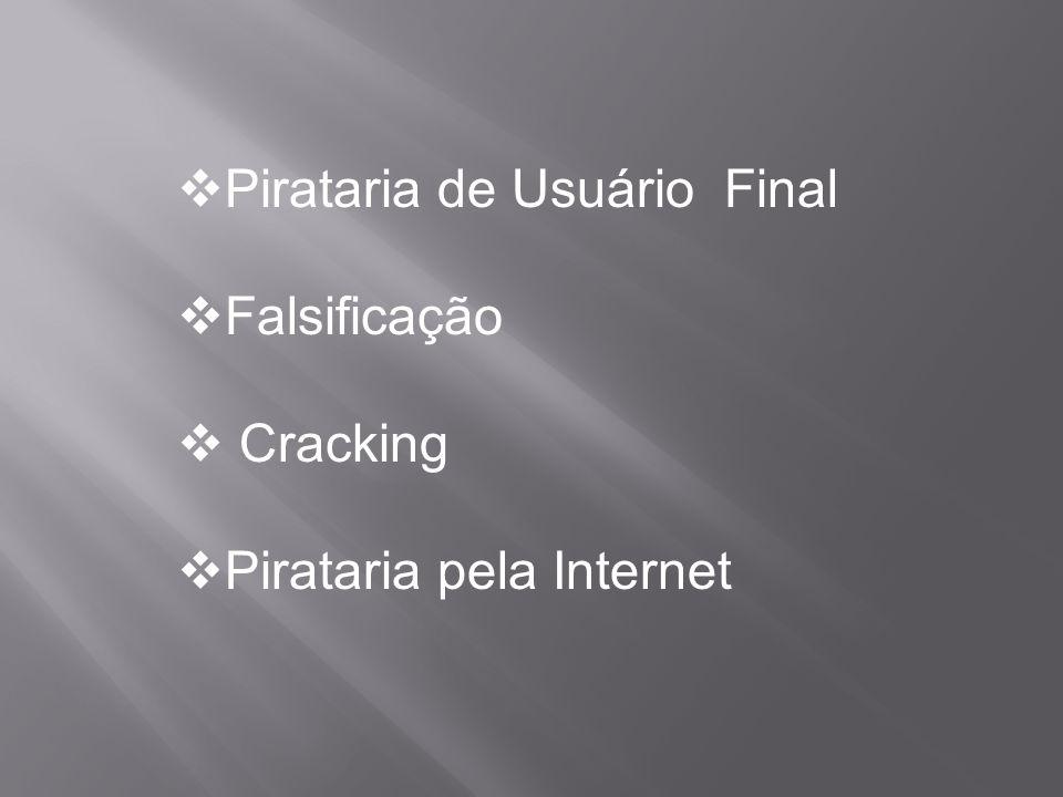  Pirataria de Usuário Final  Falsificação  Cracking  Pirataria pela Internet