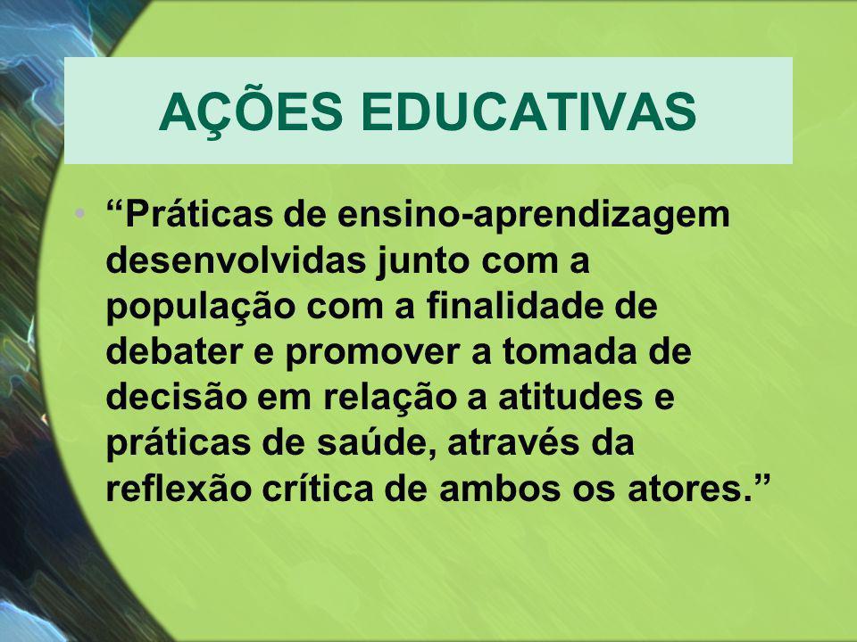 """AÇÕES EDUCATIVAS •""""Práticas de ensino-aprendizagem desenvolvidas junto com a população com a finalidade de debater e promover a tomada de decisão em r"""