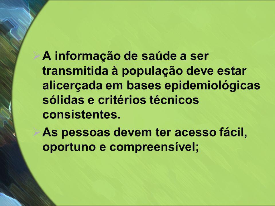  A informação de saúde a ser transmitida à população deve estar alicerçada em bases epidemiológicas sólidas e critérios técnicos consistentes.  As p