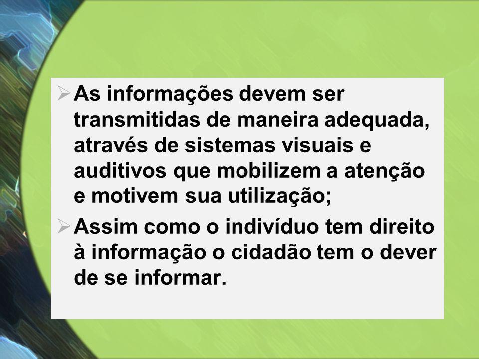  As informações devem ser transmitidas de maneira adequada, através de sistemas visuais e auditivos que mobilizem a atenção e motivem sua utilização;