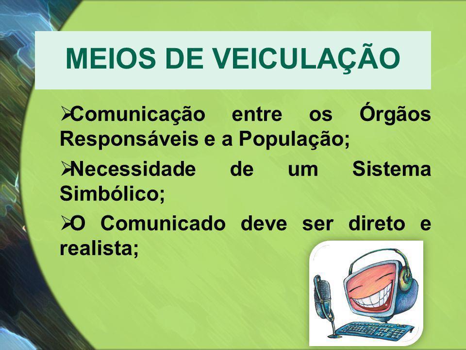 MEIOS DE VEICULAÇÃO  Comunicação entre os Órgãos Responsáveis e a População;  Necessidade de um Sistema Simbólico;  O Comunicado deve ser direto e