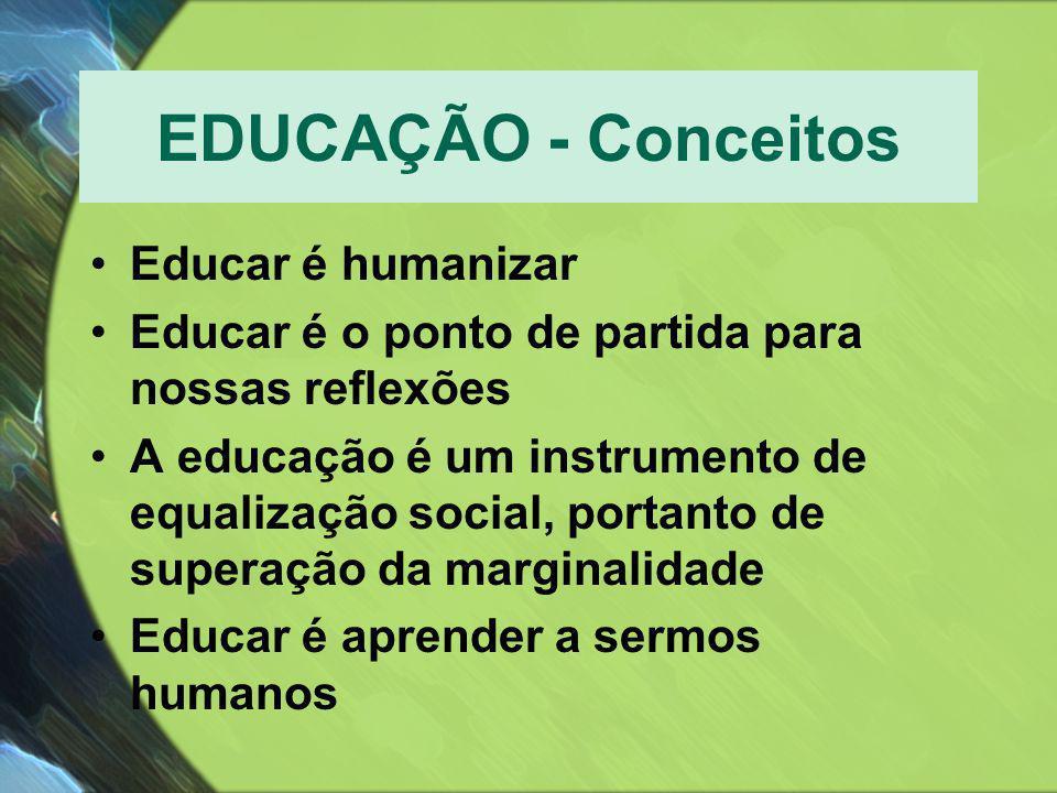 EDUCAÇÃO - Conceitos •Educar é humanizar •Educar é o ponto de partida para nossas reflexões •A educação é um instrumento de equalização social, portan