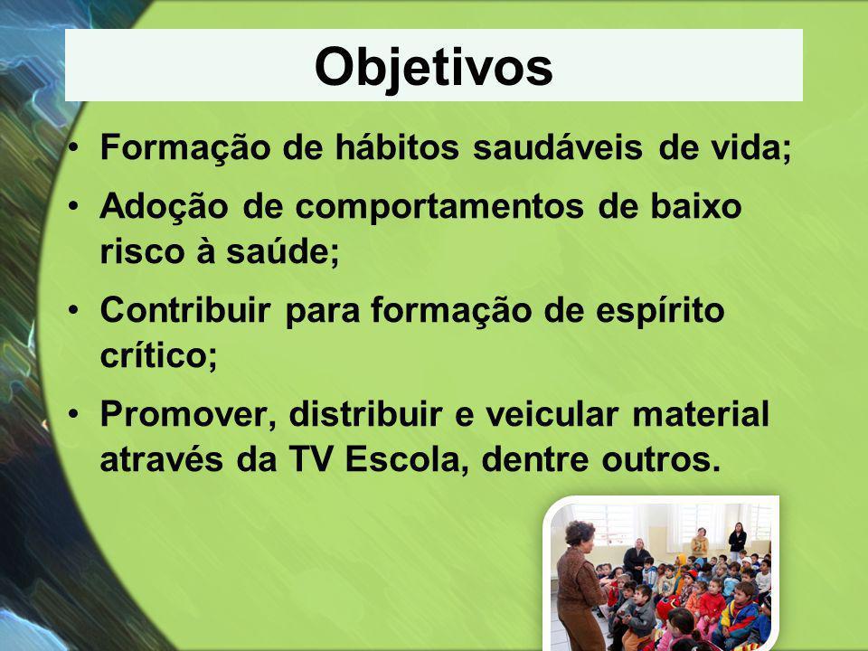 Objetivos •Formação de hábitos saudáveis de vida; •Adoção de comportamentos de baixo risco à saúde; •Contribuir para formação de espírito crítico; •Pr
