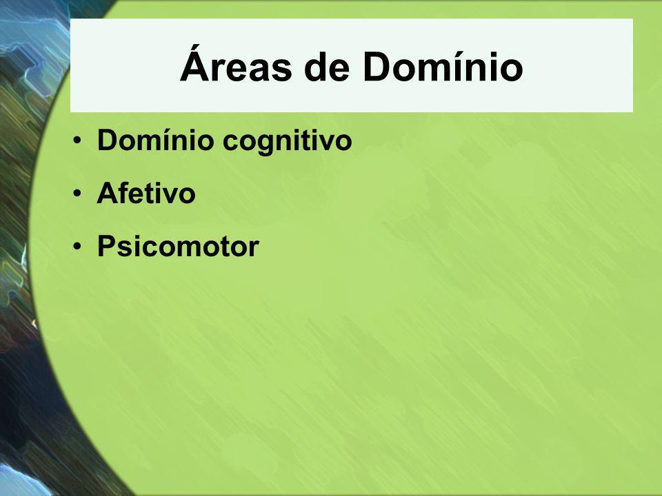 Áreas de Domínio •Domínio cognitivo •Afetivo •Psicomotor