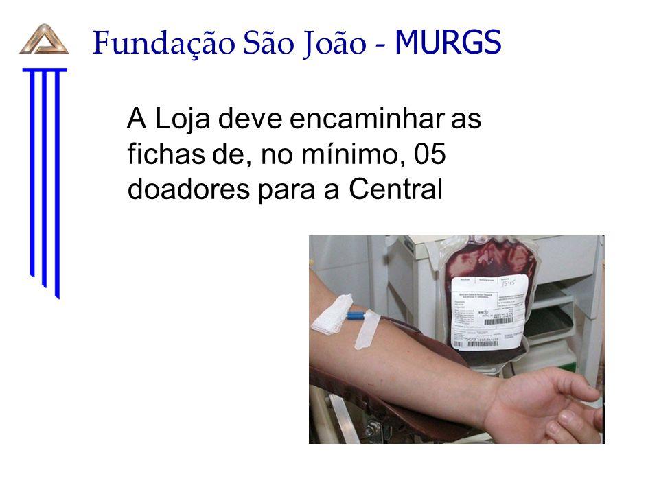 Fundação São João - MURGS A Loja deve encaminhar as fichas de, no mínimo, 05 doadores para a Central