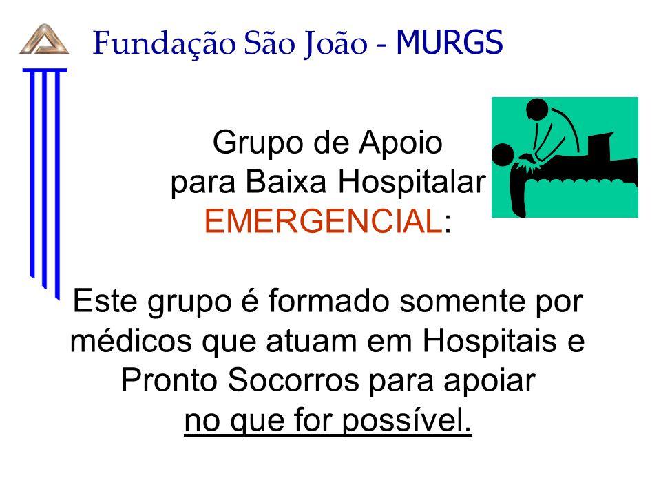 Grupo de Apoio para Baixa Hospitalar EMERGENCIAL: Este grupo é formado somente por médicos que atuam em Hospitais e Pronto Socorros para apoiar no que
