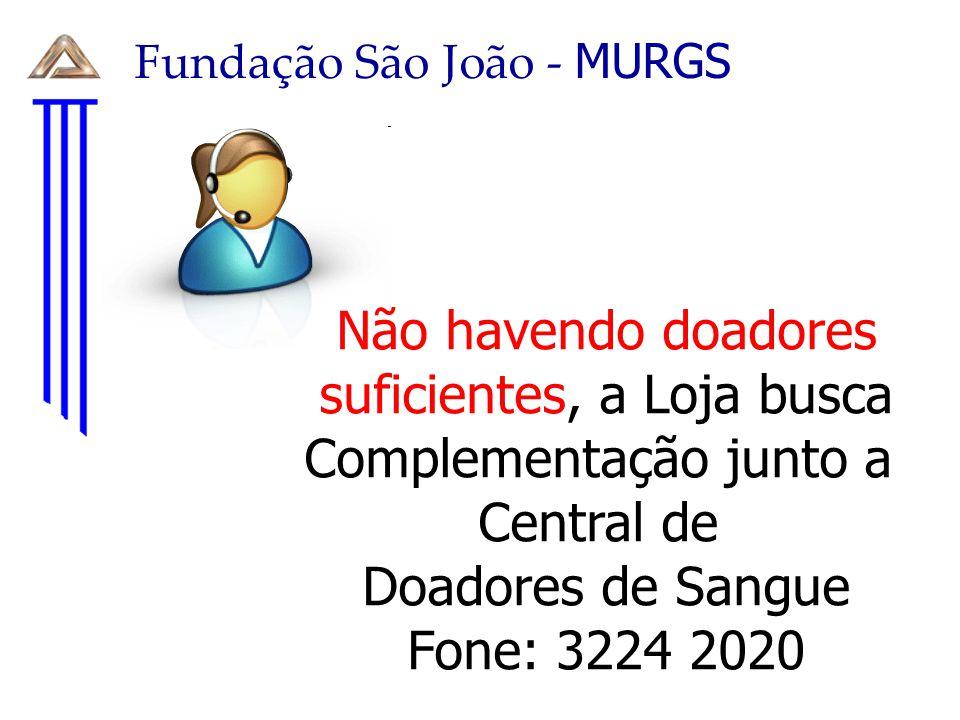 Fundação São João - MURGS Não havendo doadores suficientes, a Loja busca Complementação junto a Central de Doadores de Sangue Fone: 3224 2020