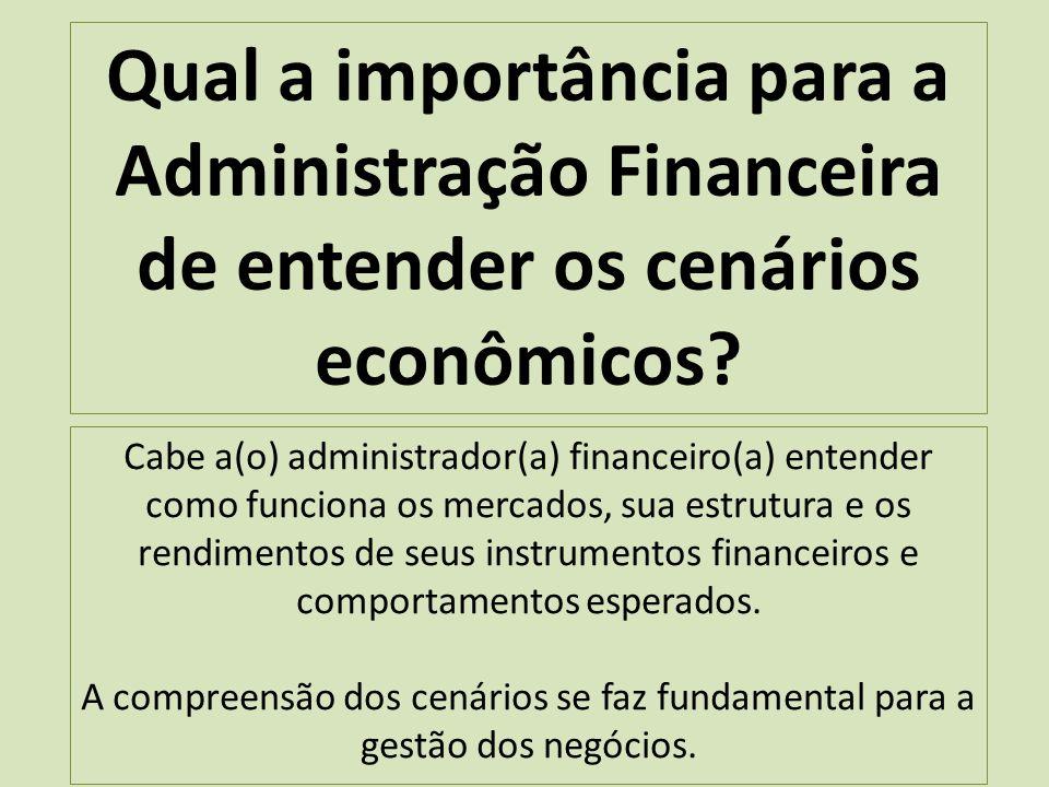 Qual a importância para a Administração Financeira de entender os cenários econômicos.