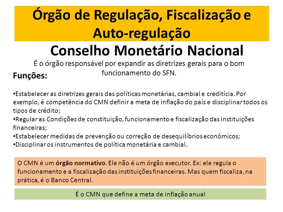Órgão de Regulação, Fiscalização e Auto-regulação Conselho Monetário Nacional É o órgão responsável por expandir as diretrizes gerais para o bom funcionamento do SFN.