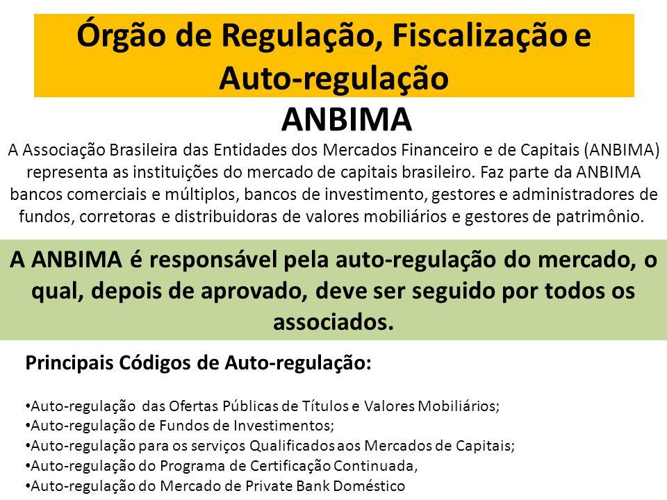Órgão de Regulação, Fiscalização e Auto-regulação ANBIMA A Associação Brasileira das Entidades dos Mercados Financeiro e de Capitais (ANBIMA) representa as instituições do mercado de capitais brasileiro.
