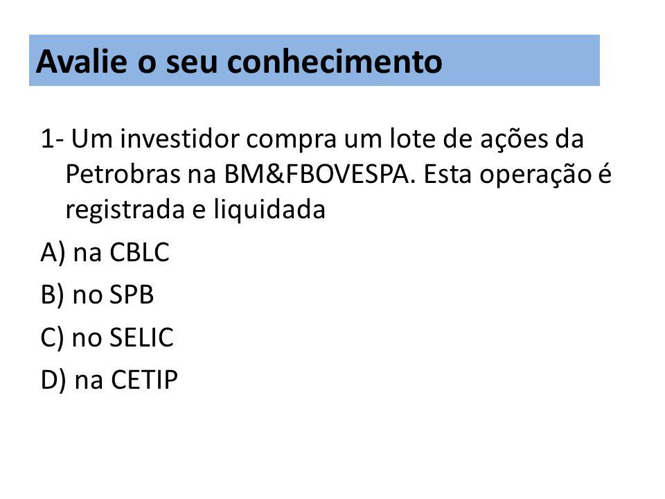 1- Um investidor compra um lote de ações da Petrobras na BM&FBOVESPA.