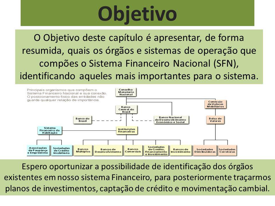 Objetivo O Objetivo deste capítulo é apresentar, de forma resumida, quais os órgãos e sistemas de operação que compões o Sistema Financeiro Nacional (SFN), identificando aqueles mais importantes para o sistema.