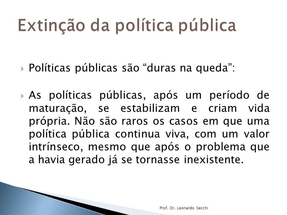  Políticas públicas são duras na queda :  As políticas públicas, após um período de maturação, se estabilizam e criam vida própria.