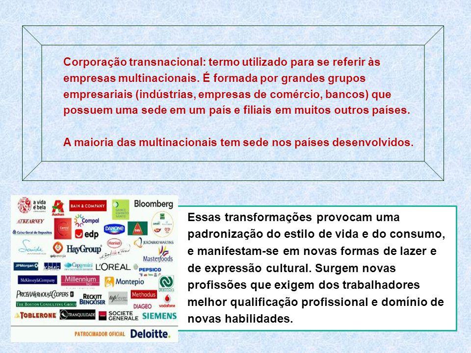 Corporação transnacional: termo utilizado para se referir às empresas multinacionais. É formada por grandes grupos empresariais (indústrias, empresas