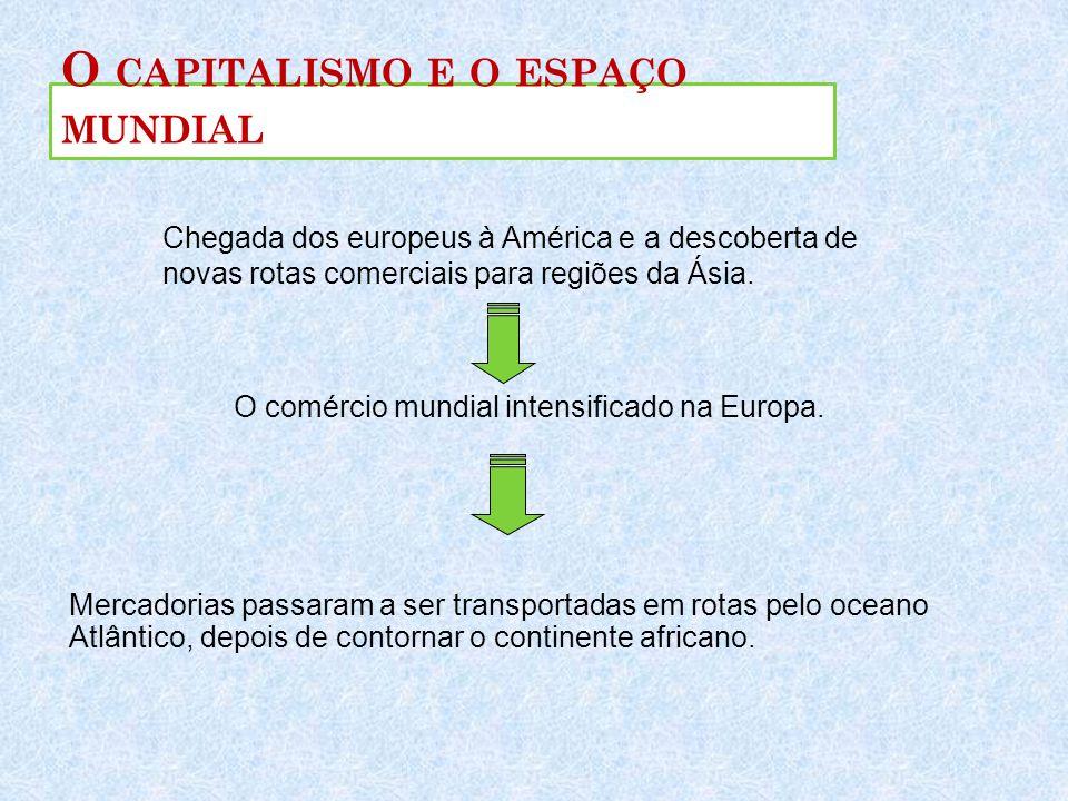 O CAPITALISMO E O ESPAÇO MUNDIAL Chegada dos europeus à América e a descoberta de novas rotas comerciais para regiões da Ásia. O comércio mundial inte