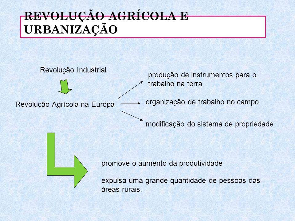 REVOLUÇÃO AGRÍCOLA E URBANIZAÇÃO Revolução Industrial Revolução Agrícola na Europa produção de instrumentos para o trabalho na terra modificação do si