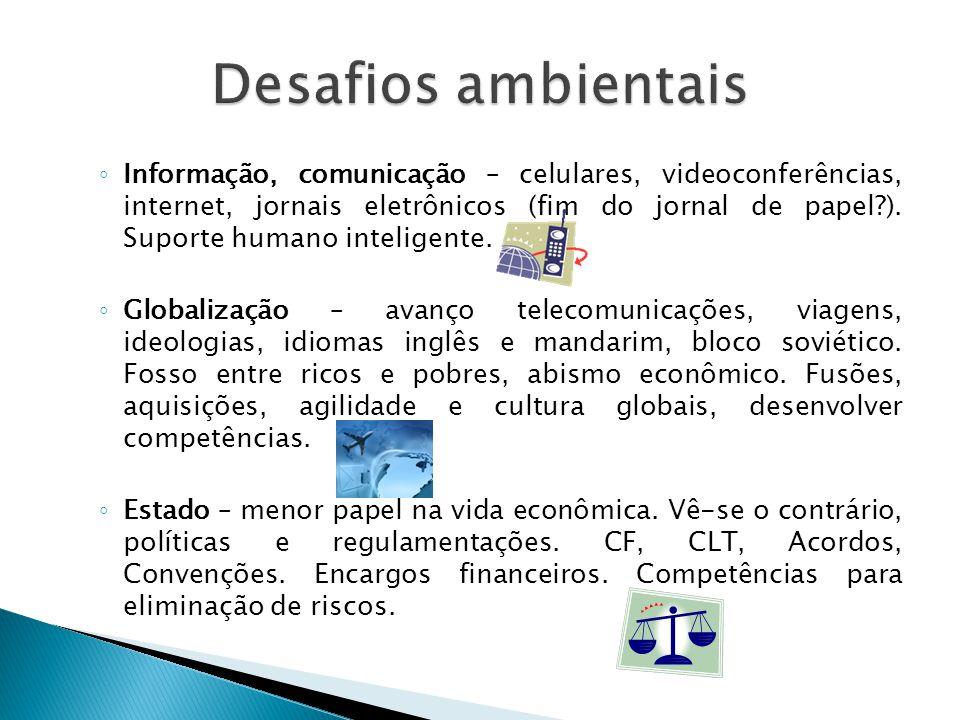 ◦ Informação, comunicação – celulares, videoconferências, internet, jornais eletrônicos (fim do jornal de papel?). Suporte humano inteligente. ◦ Globa