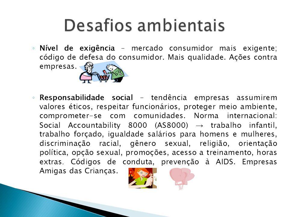 ◦ Nível de exigência – mercado consumidor mais exigente; código de defesa do consumidor. Mais qualidade. Ações contra empresas. ◦ Responsabilidade soc