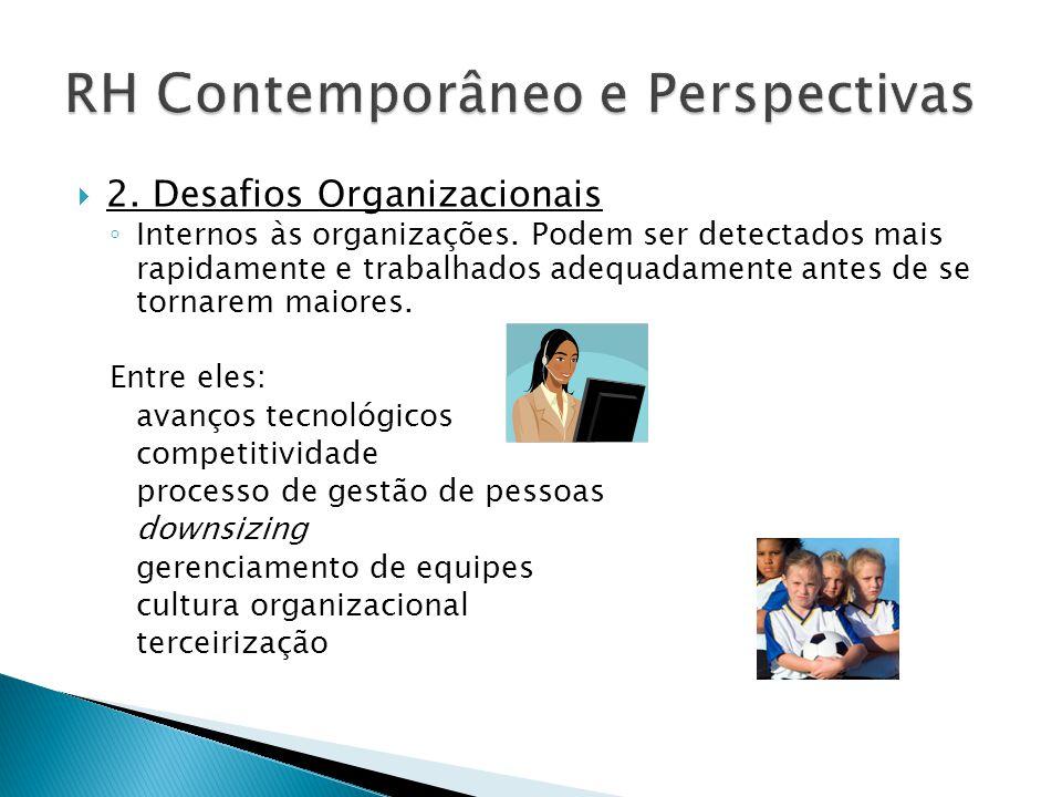  2. Desafios Organizacionais ◦ Internos às organizações. Podem ser detectados mais rapidamente e trabalhados adequadamente antes de se tornarem maior