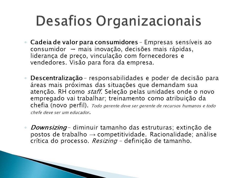 ◦ Cadeia de valor para consumidores – Empresas sensíveis ao consumidor → mais inovação, decisões mais rápidas, liderança de preço, vinculação com forn