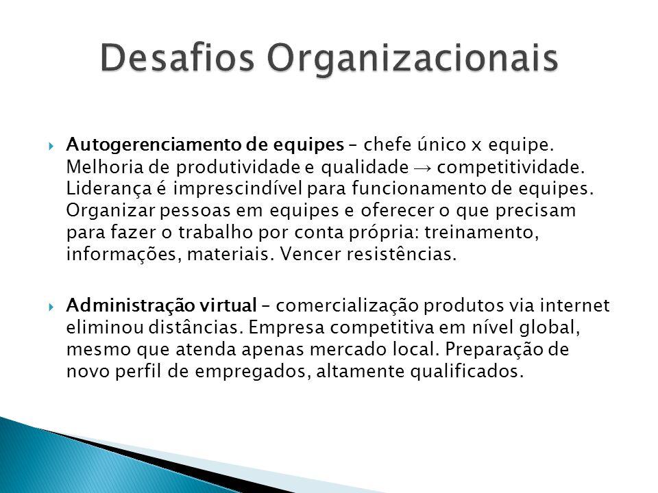  Autogerenciamento de equipes – chefe único x equipe. Melhoria de produtividade e qualidade → competitividade. Liderança é imprescindível para funcio