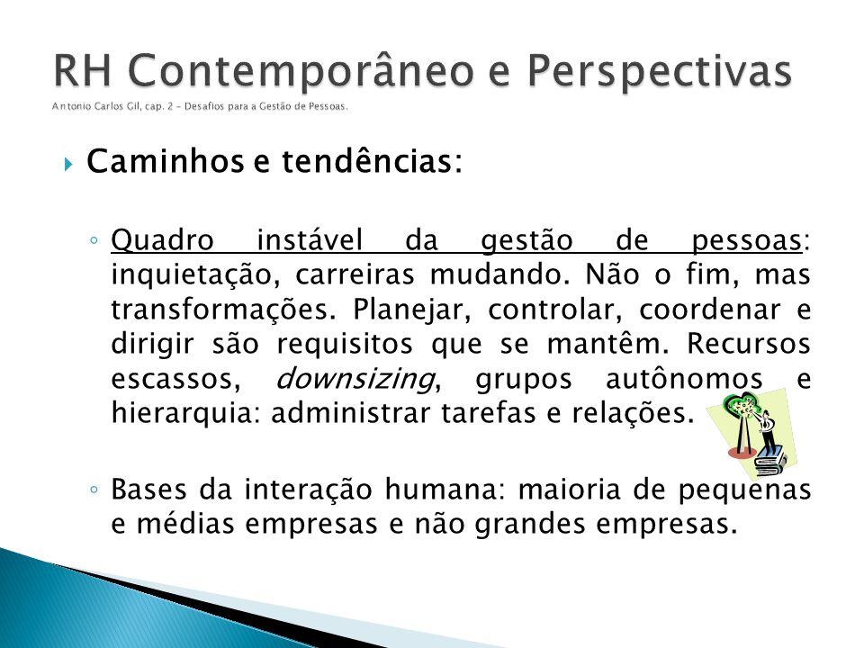  Caminhos e tendências: ◦ Quadro instável da gestão de pessoas: inquietação, carreiras mudando. Não o fim, mas transformações. Planejar, controlar, c