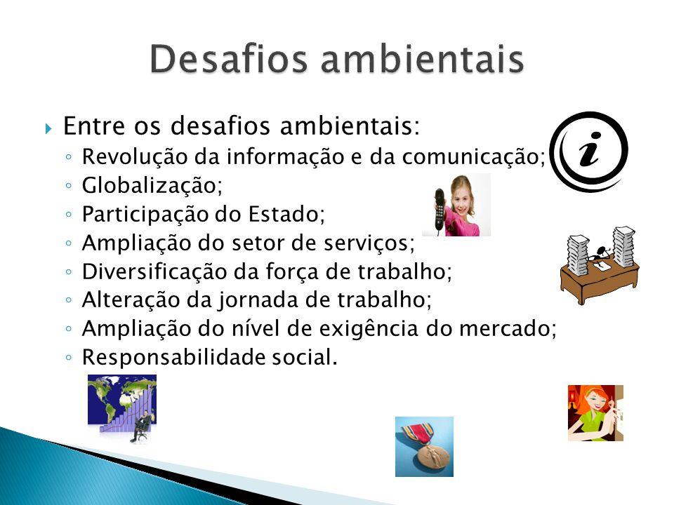  Entre os desafios ambientais: ◦ Revolução da informação e da comunicação; ◦ Globalização; ◦ Participação do Estado; ◦ Ampliação do setor de serviços
