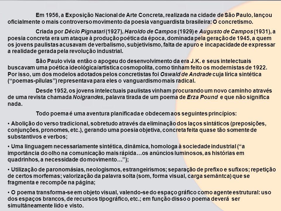 Em 1956, a Exposição Nacional de Arte Concreta, realizada na cidade de São Paulo, lançou oficialmente o mais controverso movimento da poesia vanguardi
