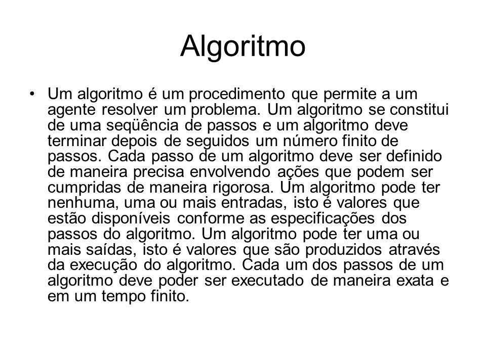 Algoritmo •Um algoritmo é um procedimento que permite a um agente resolver um problema. Um algoritmo se constitui de uma seqüência de passos e um algo