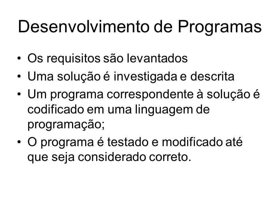 Desenvolvimento de Programas •Os requisitos são levantados •Uma solução é investigada e descrita •Um programa correspondente à solução é codificado em