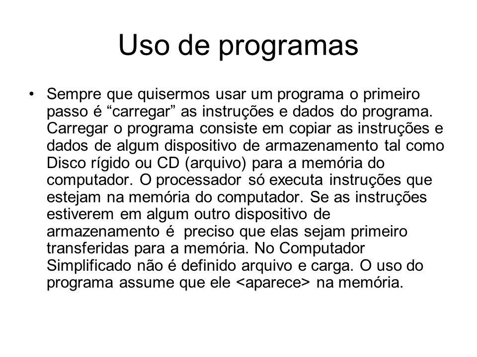 """Uso de programas •Sempre que quisermos usar um programa o primeiro passo é """"carregar"""" as instruções e dados do programa. Carregar o programa consiste"""