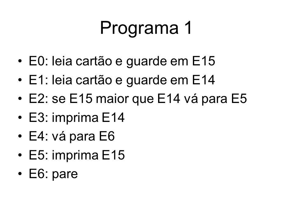 Programa 1 •E0: leia cartão e guarde em E15 •E1: leia cartão e guarde em E14 •E2: se E15 maior que E14 vá para E5 •E3: imprima E14 •E4: vá para E6 •E5