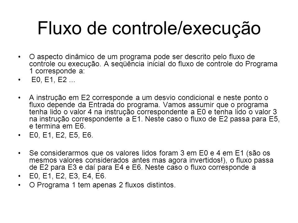 Fluxo de controle/execução •O aspecto dinâmico de um programa pode ser descrito pelo fluxo de controle ou execução. A seqüência inicial do fluxo de co