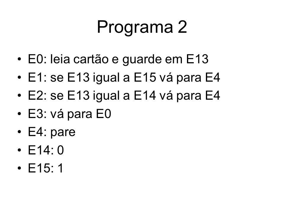 Programa 2 •E0: leia cartão e guarde em E13 •E1: se E13 igual a E15 vá para E4 •E2: se E13 igual a E14 vá para E4 •E3: vá para E0 •E4: pare •E14: 0 •E